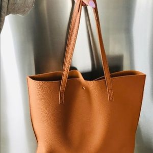 Handbags - Vegan Pebbled Leather Shoulder Tote Bag w Tassel